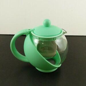 Glass Plastic Teapot Tea Pot Infuser Turquoise Built in Strainer Blue