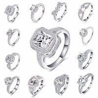 MISURA 5-9 donna argento sterling 925 Cristallo Sposa Anello di fidanzamento