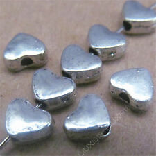 50pc Heart-shaped Spacer Beads Retro Tibetan Silver Jewellery Making 6*5mm S477T