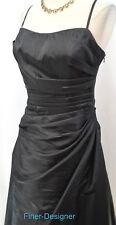 Bill Levkoff Formal Ball Gown long Dress ruching pleated taffeta black SZ 10 NEW