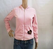 Juicy Couture Velour Juniors Womens Pink Zip-Up Hoodie Cotton Blend Size L USA