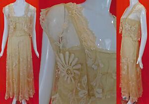 Vintage 1930s Cream Tambour Embroidery Net Lace Bias Dress Slip Vest Jacket Top