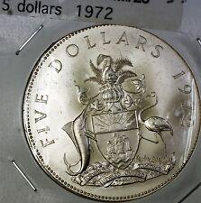 1972 Bahamas $5 Dollars Forward Onwards Upwards Together Silver UNC Coin.