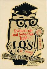 High I.Q.'s Breathing Award _RARE_ ORIG 1969 Decal vtg Anti Smoking/Drugs Mr Owl