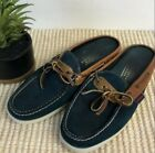 Sebago Women's Leather Deck Shoes Slip On Navy and Brown