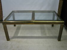 MasterCraft Bronze Finish On Brass Dining Table With Glass Top; 1 Oversized Leaf