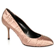 $528 Dolce & Gabbana Womens Shoes Nude Pink Satin Ruched Pumps 100% Authentic