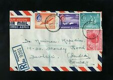 SINGAPORE - MALAYA - 1958 - REGISTERED COVER TO INDIA - DEVLALI CDS POSTMARKS