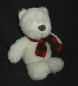 "11"" CARTER'S 2017 BABY WHITE TEDDY BEAR 67369 RED SCARF STUFFED ANIMAL PLUSH TOY"
