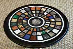 16 Inches Black Marble Corner Table Top Inlay Side Table with Multicolor stones