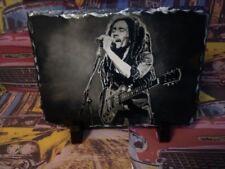 Bob Marley Sketch Art Portrait on Slate 8x6in rare collectable memorabilia