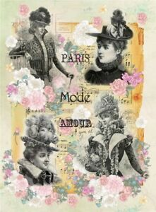 Rice paper for decoupage. Retro Ladies. Paris. 11.1x15.11 in. Made in Russia