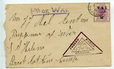 ANGLO-BOER WAR 1902 cover Winburg  to POW Broad Bottom Camp St Helena