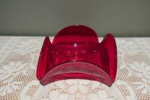 Mid Century Red Glass Four Sided Square Folded Bowl - Ground Base - Vgc