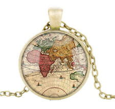🌍 Vintage Handmade World Map Necklace Bronze
