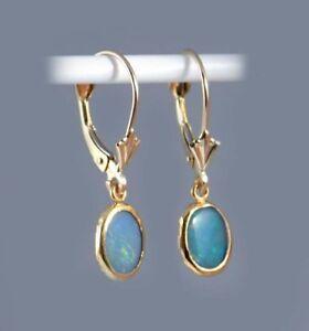 Black Opal Gold Earrings Antique Australian Ancient Roman Cupid Marc Antony 14kt