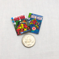2 Miniature IRON MAN COMIC Books Dollhouse Readable 1:12 Scale *2 FOR 1* MARVEL
