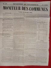 JOURNAL LE MONITEUR DES COMMUNES MINISTERE DE L'INTERIEUR N°47 18 NOVEMBRE 1864