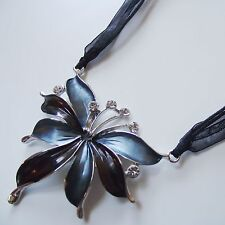 Collier Kurze Halskette Textilbandkette Anhänger Kette Strass Schwarz Silber