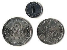France,, 1 centime, 1F, 2F, les 3 RARETES de 1993, !frappe  seulement 20 000 ex.