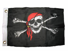 "12x18 12""x18"" Jolly Roger Red Bandanna Hat Pirate Boat Bike Car Decorative Flag"