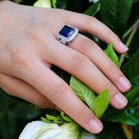 925 Silver Blue Sapphire Ring Girl Wedding Ring Jewelry Christmas Gift Size 6-10