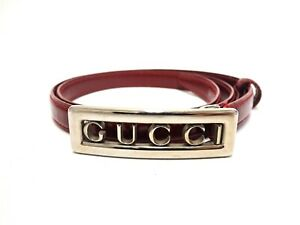 Authentic Gucci Logo Belt Red Silver Metal Patent Leather Women's