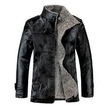 Winter Men's Warm Jacket Leather Coat Fur Parka Fleece Stand Collar Overcoat Top