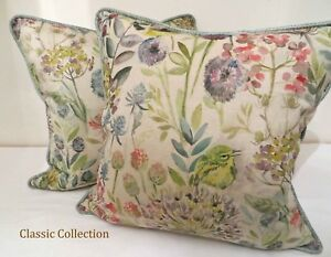 """VOYAGE """"MORNING CHORUS"""" LINEN - HANDMADE PIPED CUSHION COVER - VARIOUS SIZES"""