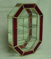 17'' Tall Red trim Glass Brass CURIO CABINET BOX for small Figurines