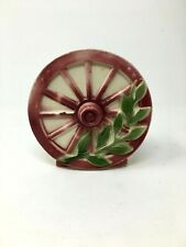 Vintage Wall Pocket Waggon Wheel Pink Leaves Branch Home Decor
