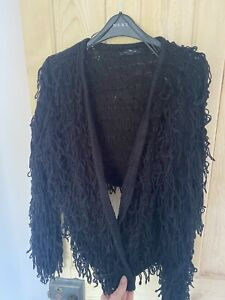 New Look Shaggy Cropped Cardigan Black Small