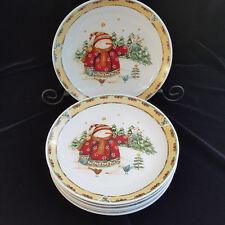 Set of 2 Dinner Plates SNOWMAN FROLIC Gibson China Debi Hron Yellow Rim & Stars
