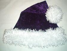 "24"" PURPLE Santa Hat with WHITE faux fur trim & ball Goth Pirate"