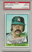 1976 TOPPS TRADED #27T ED FIGUEROA, PSA 9 MINT, SET BREAK, NEW YORK YANKEES,L@@K