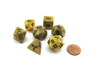 Polyhedral 7-Die Dice Set-Olympic Pearlized Gold with Black Numbers