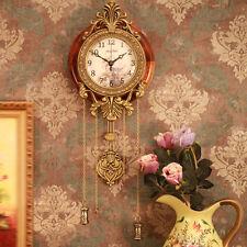 Vintage Retro European Luxury Metal Wood Wall Clock Antique Home Decor Watches