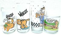 Garfield character Jim Davis 1978 Vintage set of 4 United collector glass