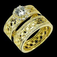 Round White Cubic Zirconia 14K Yellow Gold Plate 925 Sterling Silver Twin Ring 9