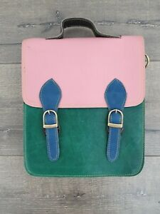 Gringo Fairtrade Green & Pink Twin Buckle Recycled Leather Satchel Bag - Faulty