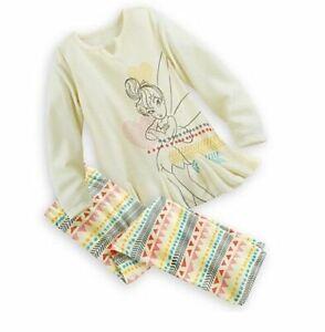 Disney Store yellow Tinker Bell Fairy sleep set pajamas NWT 5t 5 6 girls