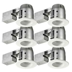 Commercial Electric Recessed Kit 4-Inch Swivel Baffle Series White (6-Pack)