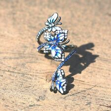 Blue Enamel Cloisonné Butterfly Ring 925 Sterling Silver Black Rhodium  Canada