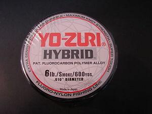 Yo-Zuri Hybrid Fluorocarbon 6 lb. 600yd Smoke Fishing Line 6lb. 600 yd yozuri
