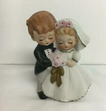 "Vintage Bisque Ceramic Bride & Groom Wedding Cake Topper 4"" Tall"