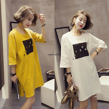 Korean Summer Women College BF Blouse Casual Loose Tunic T Shirt Dress White L
