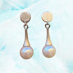Fashion 7.5-8mm AAAA+ Akoya seawater white Round Pearl Earring Stud S925 TH67
