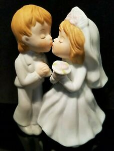 LEFTON Porcelain Bisque Hand Painted Bride & Groom Wedding Cake Topper - 1983