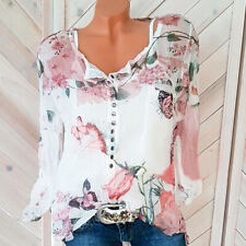 UK Womens Chiffon Tee Floral Butterfly Sheer Blouse Buttons Ladies Autumn Tops