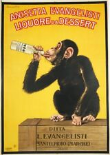 Ital.1925 Anisetta Evangelisti Original monkey advertising poster by Biscaretti